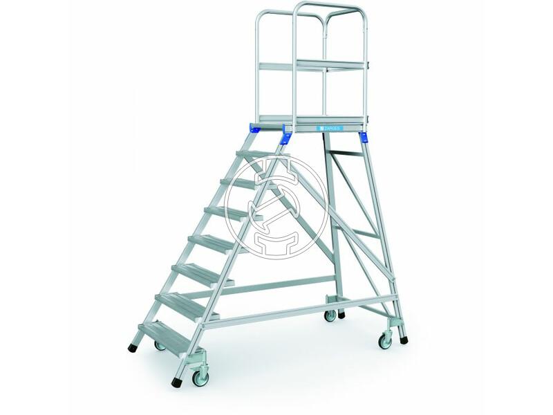 Zarges 8 fokos egy oldalon járható gurulós lépcsős dobogó